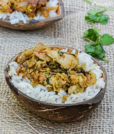 Pollo Thoran - L´Exquisit Indiana, Spicy Recipes, Fried Rice, Poultry, Potato Salad, Catering, Curry, Food And Drink, Chicken