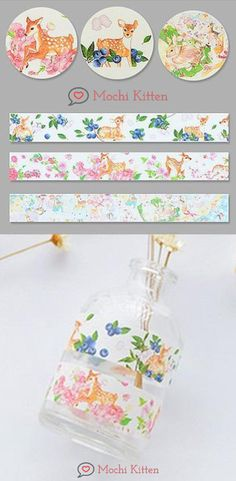 These washi tapes remind me of Bambi. Washi Tape Crafts, Washi Tapes, Masking Tape, School Accessories, Sticky Notes, Bambi, School Supplies, Deer, Decorative Boxes