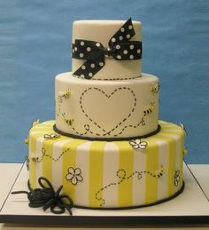 Beautiful Cake Pictures: Pretty as a Bee Bridal Shower Cake - Colorful Cakes, Themed Cakes, Wedding Cakes - Bee Cakes, Girl Cakes, Fondant Cakes, Buttercream Cake, Cupcakes, Cake Cookies, Cupcake Cakes, Pretty Cakes, Beautiful Cakes