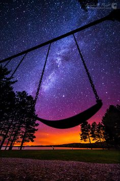 ~~Milky Way at play | the milky way shines over a swing at Lily Bay State Park on Moosehead Lake, Maine | by Aaron Priest~~