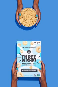 cereal with protein - Whole grains are commonly the main ingredient in cereal but Three Wishes Cereal is changing that with its better-for-you products, which take the f. Food Packaging Design, Low Sugar, Snack, Grain Free, Healthy Protein, Package Design, Parents, Philadelphia, Chips