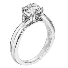 Artcarved Solitude 14kt White Gold Twist Engagement Ring Style 31-V153ERW-E