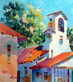 Truchas Mission by Dyan Newton Watercolor ~ 16 x 16 sold Watercolor Architecture, Watercolor Landscape Paintings, Watercolour Painting, Watercolours, Art Aquarelle, Southwest Art, Urban Sketching, Painting Inspiration, Art Projects