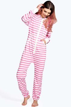 Siobhan Pink And Cream Stripe Onesie at boohoo.com