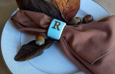 hostess gifts, Monogrammed napkin rings, 5 sets of 4, robins egg blue and 25 other colors on Etsy, $60.00