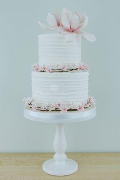 Cherry Blossom & Magnolias wedding cake by Blossom Tree Cake Company, Harrogate, North Yorkshire