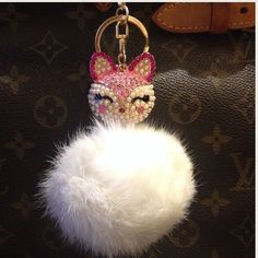 Pink fox w white fur bling key ring/ purse charm New in package , super cute , hang it from anywhere MAKE AN OFFER Accessories Key & Card Holders