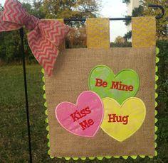 Burlap Garden Flag Conversation Heart by sewgoddesscreations