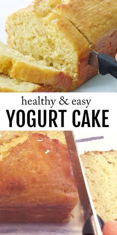 This moist yogurt cake with hints of lemon and fruity jam tastes delicious and it's super easy to make. Plus, it's loaded with yogurt and it's low sugar. #yogurtrecipes #cakerecipes #healthycakerecipes #lowsugardesserts #loafcakerecipes #easydesserts #poundcake #poundcakerecipesmoist Healthy Cake Recipes, Delicious Cake Recipes, Healthy Desserts, Yummy Cakes, Easy Desserts, Sweet Recipes, Easy Bread Recipes, Recipes With Yogurt, Baking With Yogurt