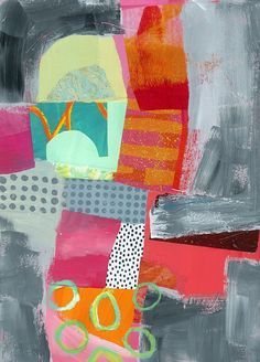 Pattern Painting - Bypass In Pink by Jane Davies Collages, Collage Artwork, Collage Ideas, Jane Davies, Grey Artist, Pink Painting, Colorful Abstract Art, Collage Making, Illustrations