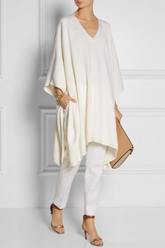 White cashmere poncho by Adam Lippes. Cashmere Poncho, Wool Poncho, White Poncho, Wool Suit, White Outfits, Wardrobes, Merino Wool, Casual Summer Clothes, Style