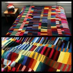 Colorful Knit Blanket. No pattern, no pressure. Just use up your yarn and knit scarves using the garter stitch (knit every row) and seam them together. A good post on knitting what you love, and more directions at Completely Cauchy here.