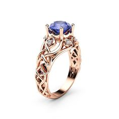 4df667b3306d65 Celtic Bluish Violet Tanzanite Engagement Ring 14K Rose Gold Ring Natural  Tanzanite Engagement Ring