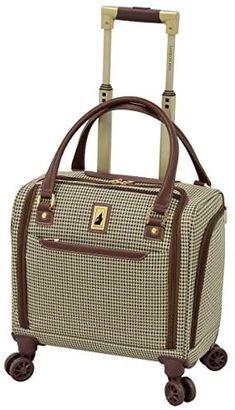 "London Fog Cambridge II 15"" 8 Wheel Under Seat Bag, Olive Houndstooth Best Luggage, Carry On Luggage, Luggage Bags, Luggage Store, Tote Bags, Luggage Reviews, Houndstooth, Cambridge, Shopping"