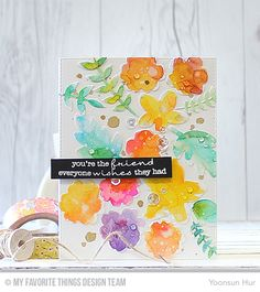 RejoicingCrafts: MFT September Die-namic Design - Flowers and Foliage. Watercolour flowers and leaves using Peerless watercolours. #mftstamps