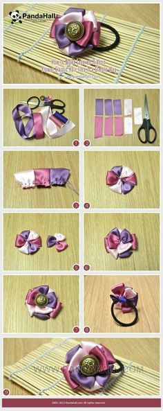 Great way to use small bits of leftover ribbon or material. Jewelry Making Tutorial-How to Make Layered Ribbon Flower Elastic Hair Ties in a Simple Way Ribbon Art, Ribbon Crafts, Flower Crafts, Ribbon Bows, Ribbons, Diy Headband, Headbands, Elastic Hair Ties, Diy Hair Bows