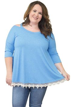 Ready to ship: Chicloth Light Bl.... http://chicloth.com/products/chicloth-light-blue-cold-shoulder-lacy-hem-plus-size-blouse?utm_campaign=social_autopilot&utm_source=pin&utm_medium=pin