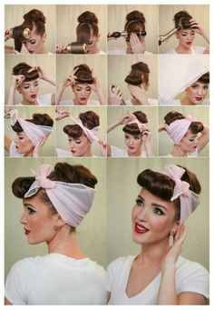 Coiffure foulard années 50 rockabilly pin upYou can find Pin up hair and more on our website.Coiffure foulard années 50 rockabilly pin up Vintage Hairstyles Tutorial, Retro Hairstyles, Scarf Hairstyles, Pin Up Hairstyles, Vintage Hair Tutorials, Hairstyle Ideas, Grease Hairstyles, 1950s Hairstyles For Long Hair, Wedding Hairstyles