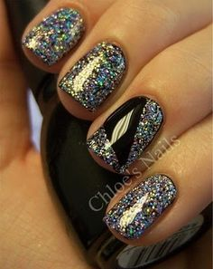 Sparkle and Jet Black Nails...