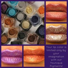 Younique eye piments used with chapstick to create your own color of lip stick, how fun!! Only $10 each