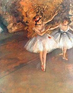 Two Dancers on Stage (alla Barra) Canvas Art Print by Edgar Degas Edgar Degas, Degas Ballerina, Ballerine Degas, Artist Canvas, Canvas Art, Degas Paintings, Degas Drawings, Most Famous Paintings, Renaissance Artists