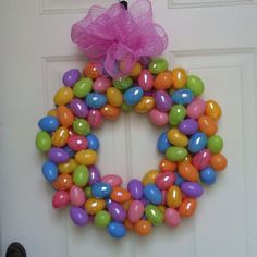My first wreath!!! Wire wreath, plastic eggs, and a hot glue gun! Happy Easter!