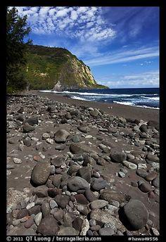 Rocks and black sand beach, Waipio Valley. Big Island, Hawaii, USA