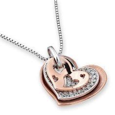 18K/750 Rose & White Gold Triple Heart Diamond Pendant W/925 Sterling Silver Chain (0.30 cttw, G-H Color, VS2-SI1 Clarity) $945 #jewelry #diamond #pendant #heart #jewellery #iad #x1000 #amazon #facebook