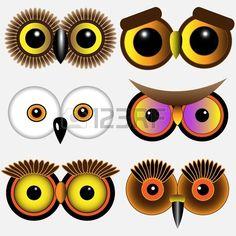 Eyes of owls Vector set Banco de Imagens