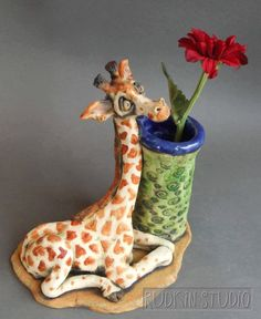 Giraffe Figurine and Ceramic Vase Sculpture by RudkinStudio