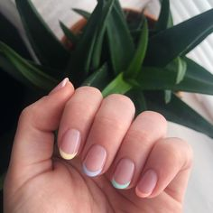 The unexpected manicure trend everyone is loving right now Here's a clue: pastel rainbow nails. The unexpected manicure trend everyone is loving right now Here's a clue: pastel rainbow nails. Frensh Nails, Hair And Nails, Star Nails, Neon Nails, Cute Shellac Nails, Pink Tip Nails, Kylie Nails, Shellac Nail Colors, S And S Nails