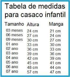 Receita de Crochê Infantil: Tabela de tamanhos para casaquinhos de bebê                                                                                                                                                     Mais