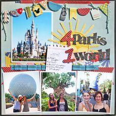 great page.... 4 Parks 1 World... ahhh cute! #disneyscrapbook #disney