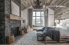 It's also not easy to build a modern rustic bedroom design in your home. You should also pay attention to some so that your rustic bedroom design is not boring. Modern Rustic Bedrooms, Rustic Bedroom Design, Rustic Master Bedroom, Master Bedroom Design, Modern Rustic Interiors, Dream Bedroom, Home Bedroom, Bedroom Ideas, Modern Farmhouse