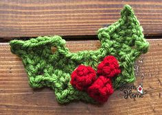 Holly and Berries free crochet pattern - Free Crochet Christmas Applique patterns- The lavender Chair