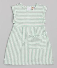 Green Seersucker Pocket Dress - Toddler  Girls | zulily