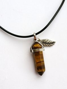 Tigers Eye Quartz Crystal Point Pendant Necklace Choker with Silver Leaf Charm