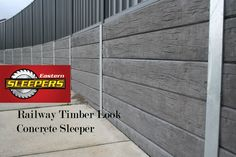 Railway Timber Look Concrete Sleepers used to build retaining walls, a fantastic alternative to timber without all the rot. Easy to install using Galvanised Steel Post for uprights.