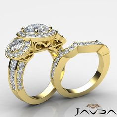 2.77ct Round Diamond 3 Stone Bridal Set Engagement Ring GIA F VS2 14k Yellow Gold