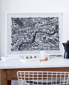 Distinctly original screen print poster based on a Famille Summerbelle paper cut map of London in bright 'London Bus' red. Ideal gift for a marriage. London Kids, London Map, 1st Wedding Anniversary Gift, Paper Magic, Architecture, Paper Cutting, Decoration, Screen Printing, Paper Art