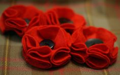 Remembrance Poppy Brooches - also being taught as one of our bitesize workshops