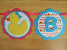 Rubber Duck Ducky Birthday Party Shower Banner Sign Summer Pink Yellow Blue Party Decorations Decor
