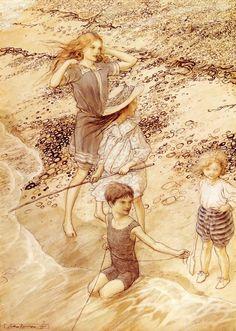 Children by the sea, Arthur Rackham....Adoro questa Illustrazione <3