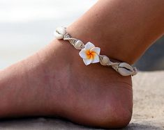 Cowrie Shell Anklet, beach ankle bracelet, custom hemp jewelry made to order - choose color Boot Jewelry, Ankle Jewelry, Hemp Jewelry, Beach Jewelry, Jewelry Accessories, Anklet Bracelet, Beaded Bracelets, Anklet Tattoos, Beach Anklets