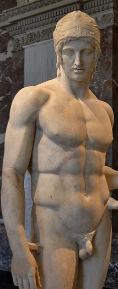 "Statue of Ares, so called ""The Borghese Ares"" - Roman copy of a lost Greek bronze original created in 5th century BC, now at the Louvre Museum, Paris"