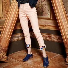 Elf Sack autumn female printing stitching straight casual pants women thin ankle-length pants| elfsack