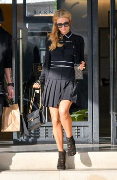 Paris Hilton Shirtdress - Paris Hilton looked preppy in a black Alice + Olivia shirtdress with white piping while out and about. Paris Hilton Photos, Paris Photos, I Love Paris, Sheer Dress, Preppy, Chris Zylka, Lady, Casual, Clothes