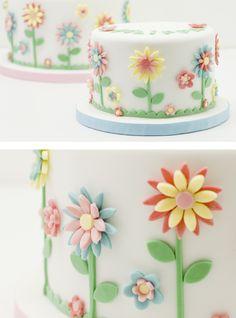 La primavera ya se siente! Baby Cakes, Baby Birthday Cakes, Girl Cakes, Sweet Cakes, Cupcake Cakes, Pretty Cakes, Beautiful Cakes, Petit Cake, Spring Cake