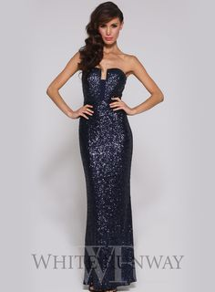 Monica Dress by Elle Zeitoune. An elegant full length gown by Elle Zeitoune. A figure-hugging sequinned gown featuring a strapless, low-cut neckline.
