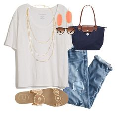 """""""At the Airport! So excited!!"""" by skmorris18 ❤ liked on Polyvore featuring J.Crew, Fine Collection, Jack Rogers, Longchamp, Kendra Scott, Tory Burch and Ray-Ban"""